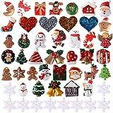 VINFUTUR 50 STK Miniaturdeko Weihnachten Mini Weihnachtendeko Set DIY Harz Weihnachtsminiatur Ornamente Klein Figur für Home Garden Party Deko Tischdeko Weihnachtsschmuck Weihnachtsverzierung (bunt)