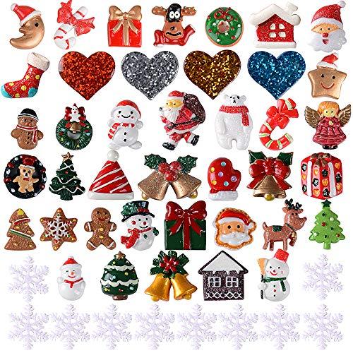 VINFUTUR 50pcs Adornos Navideños de Resina Miniaturas Navideñas Figuras Accesorios de Navidad para Decoración Celular Regalo DIY Manualidad