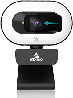 2021 NexiGo StreamCam N930E, 1080P Webcam with Ring Light and Privacy Cover, Auto-Focus, Plug and Play, Web Camera for Onl...