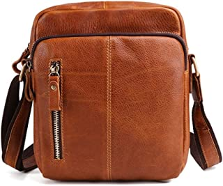 Haibeisi Fashion Unique City Cell Phone Crossbody Bag Fashion Men Shoulder Leather Bag (Color : Brown, Size : S)