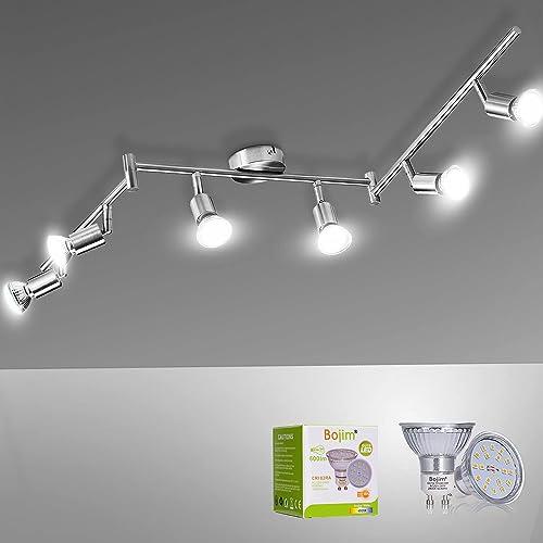 Bojim Plafonnier LED 6 Spots Orientables Blanc du Jour 6 X Ampoules GU10 Applique 6W 4500k, 600lm Eq.54W Plafond en N...