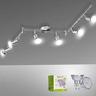 Bojim Plafonnier LED 6 Spots Orientables Blanc du Jour 6 X Ampoules GU10 Applique 6W 4500k, 600lm Eq.54W Plafond en Nikel ...