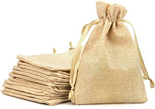 RUBY - 50 Bolsitas de yute para regalo joyeria, bolsita para regalo de tela de arpillera, bodas, comuniones, saco navidad, reuniones, artesanía, bricolaje (10cm x 14cm)