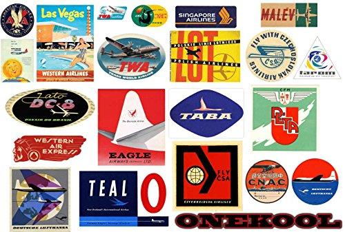 Bagages compagnies aériennes Vintage – ref Rétro Lot de 19 stickers Valise de voyage