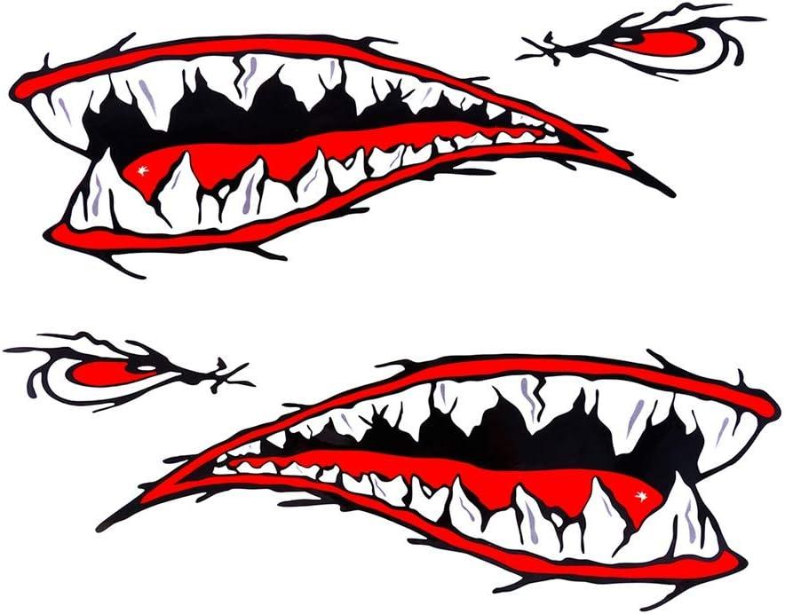 Leezo 2pcs Wasserdicht Diy Lustige Ruder Kajak Ruderboot Hai Zähne Zubehör Mund Aufkleber Vinyl Aufkleber Aufkleber Für Etikett 2 Stück Kajak Hai Aufkleber Sport Freizeit