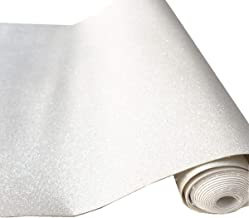 """ZAIONE 8"""" x 53"""" (21cm x 135cm) Roll Sparkly Superfine Glitter Vinyl Fabric Fine Glitter PU Leather Canvas Back Material for Shoes Bag Sewing Patchwork DIY Bow Craft Applique(Off White)"""