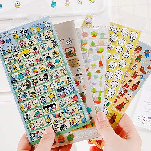 PMSMT 6 unids/Lote de Pegatinas de Dibujos Animados de PVC para salón de Ocio, Pegatinas de Diario para álbum de Recortes DIY, Bonitos Accesorios de decoración de papelería Kawaii