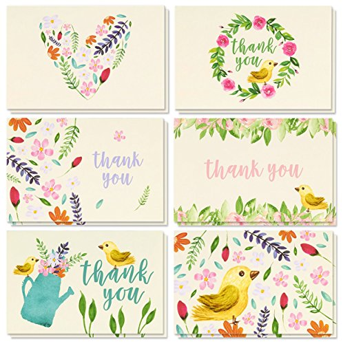 Thank You Cards - 48-Count Thank You Notes, Bulk Thank You Cards Set - Blank on the Inside, Vintage Garden Watercolor Floral Flower Bird Designs � Includes Thank You Cards and Envelopes, 4 x 6 Inches