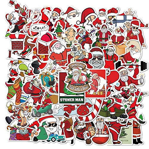 KATTERS Christmas Sticker Gifts Toy For Children Santa Claus Reindeer Cartoon Decal Stickers To Snowboard Laptop Moto Car Helmet50Pcs