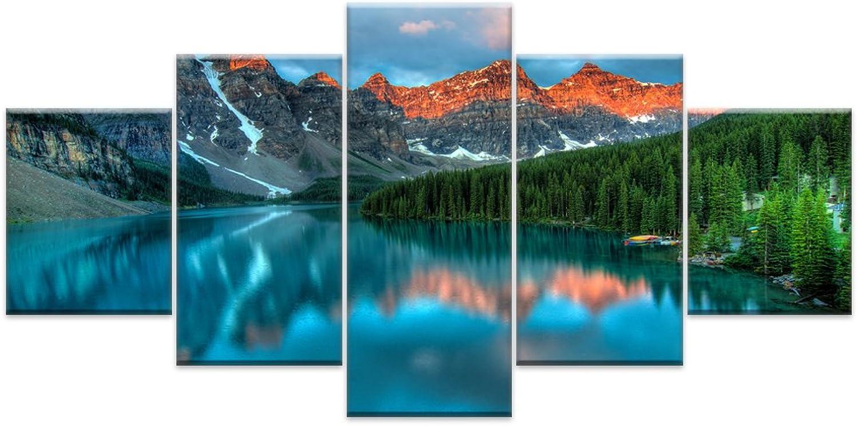 5 Stück Wand Kunst Bild Geschenk Dekoration Leinwand Malerei schönen blauen See drucken für Wohnzimmer auf Leinwand gedruckt, szie 2, mit Gerahmten B07CL9WVHM     | eine große Vielfalt