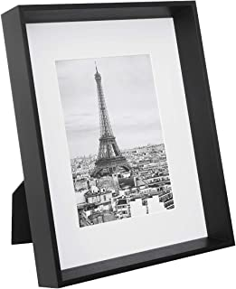 SONGMICS Picture Frame, for 8 x 10 Inches Without Mat, 5 x 7 Inches with Mat, Clear Glass Front, Deep Cases Design for Wall and Tabletop, Black URPF02BK