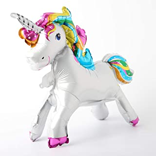 Self Stand steadily Unicorn Birthday Party Decorations Supplies Wedding Engagement Children's Day Foil Unicorn Horse Animal Balloons Toy (Rainbow)