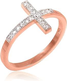 14k Rose Gold Sideways Cross Ring with Diamonds