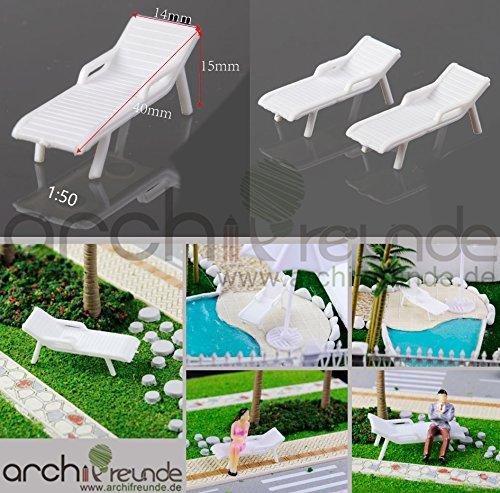 2 x Modell Liegestühle, Strandstühle, für Modellbau und Modelleisenbahn, 1:50/75/87 Spur 0/00/H0, weiß, Miniatur Modell Minigarten (1:50)