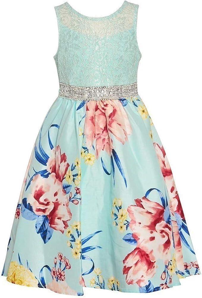 Tween Diva Little Girls Mint Floral Print Glitter Tea-Length Easter Dress 2-4T