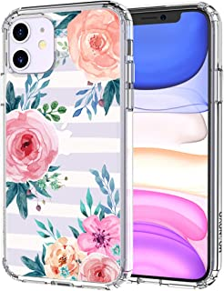MOSNOVO iPhone 11 Case, Girls Blossom Stripes Floral Flower Pattern Clear Design Transparent Plastic Hard Back Case with TPU Bumper Protective Case Cover for Apple iPhone 11 (2019)