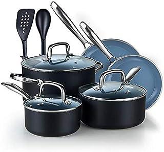 Cook N Home Coating Set Ceramic Nonstick Cookware, 10-Piece, Grey