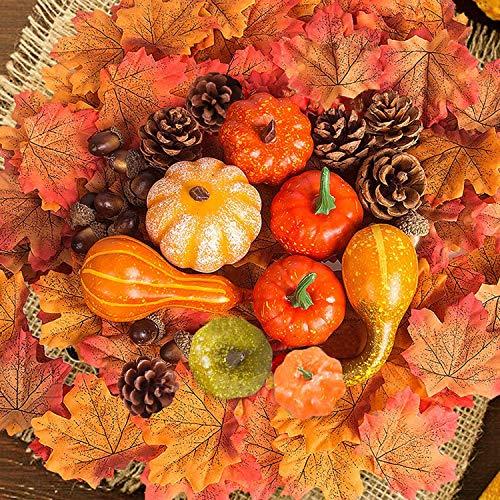 54 pcs Artificielle Automne Décorations, Mini Artificielles Automne Citrouilles Glands Pommes De Pin Feuilles D'automne pour Halloween Fête De Thanksgiving Automne Récolte Décoration De Maison