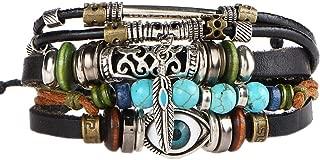 Multilayer Leather Bracelet , Handmade Beaded Bracelet ,Blue Eye Bracelet Vintage Hollow Carved Bracelet (Multicolor)
