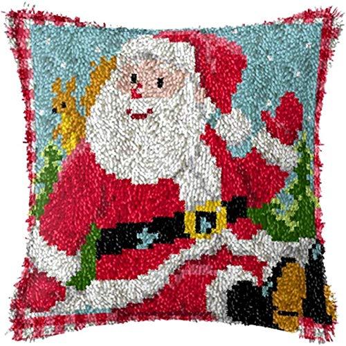 QAZWSX Crochet Kit Weihnachtshandwerk Latch Hook Kit, DIY Wurfkissenbezug mit gedrucktem Muster for DIY Weihnachtsdekoration Familienaktivität handgefertigt (Color : E, Size : 17 inch)