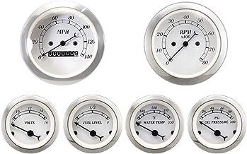 MOTOR METER RACING 6 Gauge Set Classic Instruments Mechanical Speedometer Analog Odometer White Dial