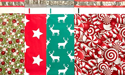 Christmas Holiday Designer Poly Mailers 10x13 : Candy Cane, Reindeer Deer Elk, Christmas Stars and Christmas Tree; Printed Self Sealing Shipping Poly Envelopes Bag (40 Pcs Total)