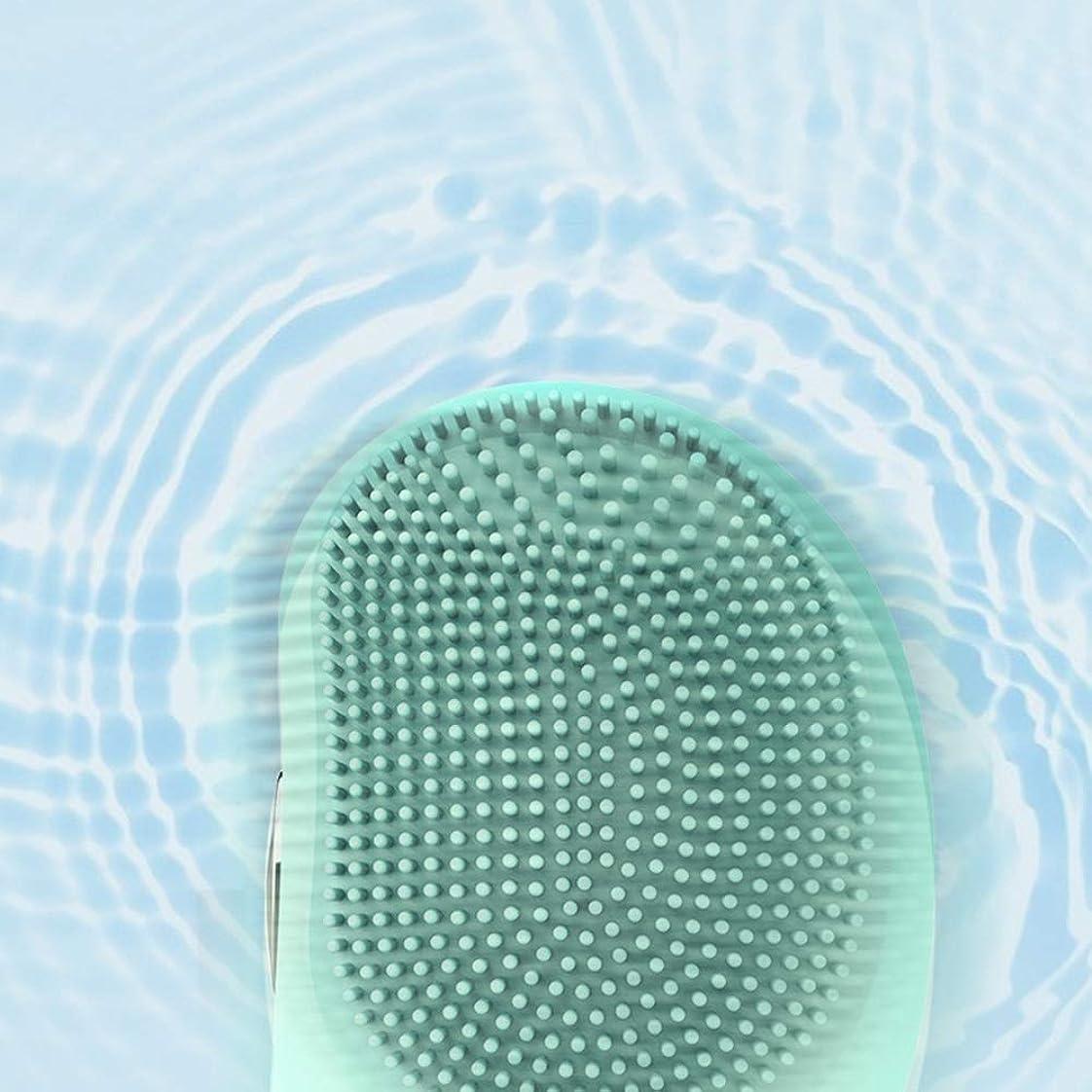 天場合危険にさらされているLYX 新エレクトリック防水シリコーンクレンジングブラシ、超音波振動ポータブルクレンジング器、マッサージ器、美容機器、家庭用クリーナーデトックスクリーニングブラシ (Color : 青)