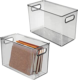 mDesign rangement à poignées (lot de 2) – grand panier de rangement transparent au design élégant – bac de rangement en pl...
