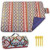 Picnic Blankets Beach Blanket Sandproof, Outdoor Blankets Waterproof with 3 Layers Material, Foldable Camping Blanket for Travelling Park Grass Family Concerts 59×78 inch Large (5978IN, 2021NEW)