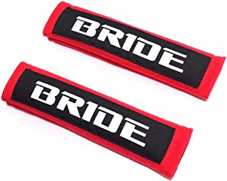 X2 JDM BRIDE Red with Black Embroidery Seat Belt Cover Shoulder Pads New Pairs