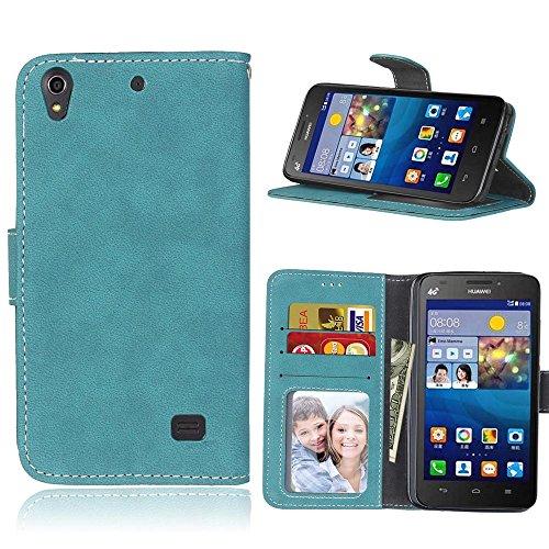 Huawei Ascend G620S Hülle, SATURCASE Retro Mattiert PU leder Flip Magnetverschluss Brieftasche Standfunktion Kartenschlitze Schützend Tasche Hülle Schutzhülle Handycover für Huawei Ascend G620S (Blau)