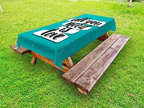 ABAKUHAUS Sprichwort Outdoor-Tischdecke, Pinsel Schriftarten Inspiration, dekorative waschbare Picknick-Tischdecke, 145 x 305 cm, Teal Schwarzweiss