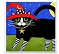 CafePress - Black Tuxedo Witch CAT w/RED Hat Art Tile Coaster - Tile Coaster, Drink Coaster, Small Trivet