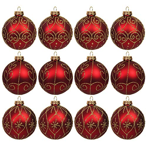 Set di 12 palline di Natale Ø8cm in vetro rosso / oro, 3 tipi, palline per albero di Natale, addobbi per albero di Natale, palline decorative