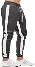 FASKUNOIE Men's Athletic Pants Skinny Side Stripe Casual Elastic Close Bottom Track Pants