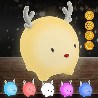 Luz Nocturna Infantil, Luz Quitamiedos Bebé, Lámpara Infantil LED Silicona USB Recargable Ciervo, 6 Color Cambiante/Control Tátil para Niños (Blanco)