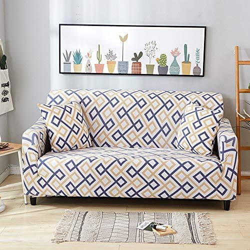Fundas para Sofá Elástica de 2 Plazas, Extraíbles y Lavables,Moderna Cubre Sofa Antideslizante contra Polvo y Resistente a las Manchas, Funda Protector para Sofá Sillon Universal(Geometría-A,2 Plazas)