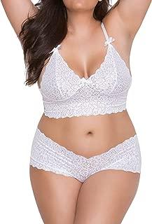 SOLY HUX Women Plus Size Lace Bralettes and Panty Set Sexy Lingerie Set