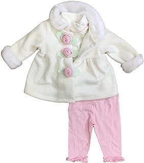 953078906 Infant Girls Ivory Fleece Jacket Bodysuit & Pink Leggings 3 pc Baby Outfit