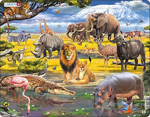 Larsen FH30 Afrikanische Savanne mit dem Kilimandscharo im Hintergrund, Rahmenpuzzle mit 43 Teilen