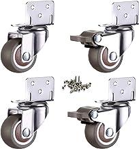4 kleine zwenkwielen voor meubels, 25 mm met remmeubelwielen, L-montageplaat, geschikt voor meubels, bloemenstandaard, kri...