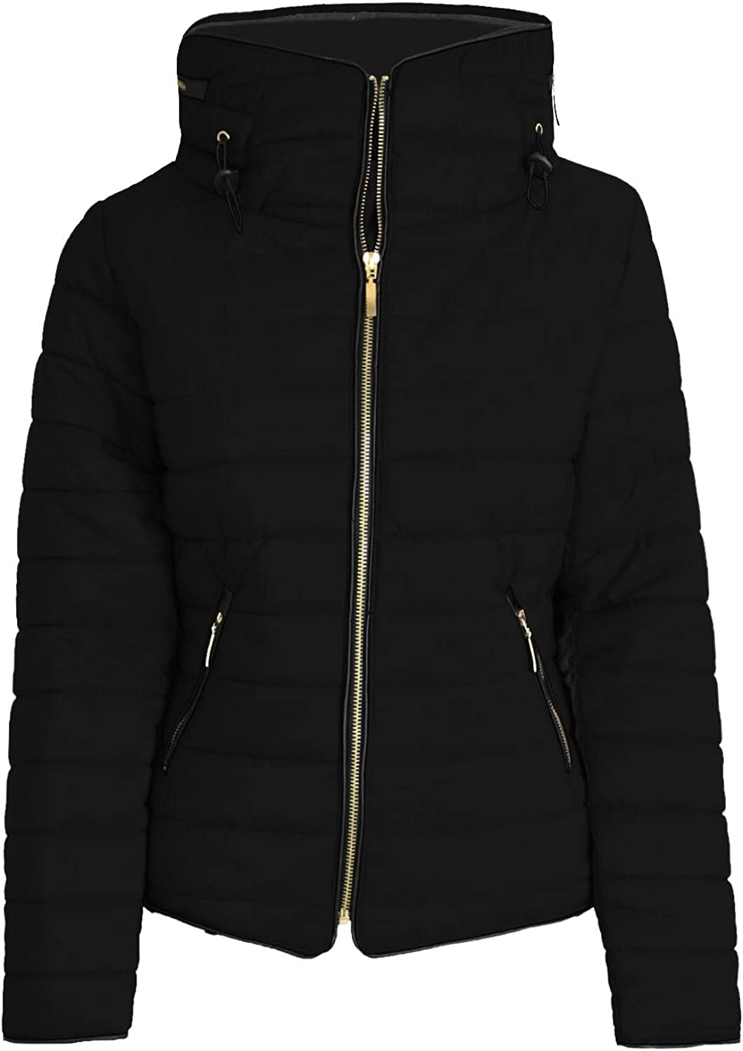 Be Jealous Womens Ladies Padded Quilted Bubble Warm Faux Fur Hood Pockets Striped Jacket Black