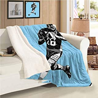 Xlcsomf Soft Blanket Sports Decor Easy to Care (60 x 30 inch) American Football League Game Rugby Player Run Original Kitsch Retro Illustration Blue Black White
