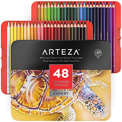 Arteza Colored Pencils, Professional Set of 48 Colors, Soft Wax-Based Cores, Art Supplies for Drawing Art, Sketching, Shading & Coloring, Vibrant Artist Pencils for Beginners & Pro Artists in Tin Box