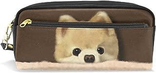 ALAZA Cute Corgi Dog Pencil Case Zipper PU Leather Pen Bag Cosmetic Makeup Bag Pen Stationery Pouch Bag Large Capacity