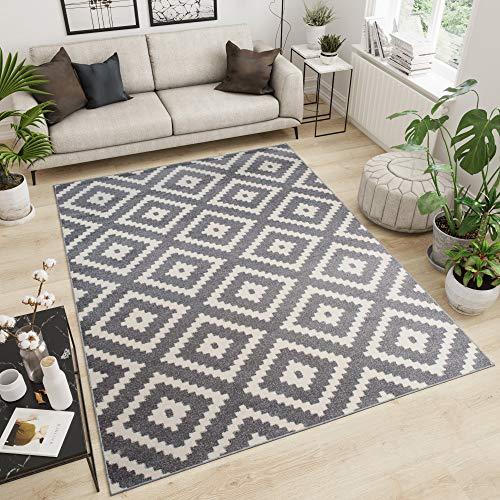 Tapiso MAROKO Teppich Kurzflor Modern Designer Geometrisch Diamant Karo Viereck Muster Grau Creme Schlafzimmer Wohnzimmer ÖKOTEX 140 x 190 cm