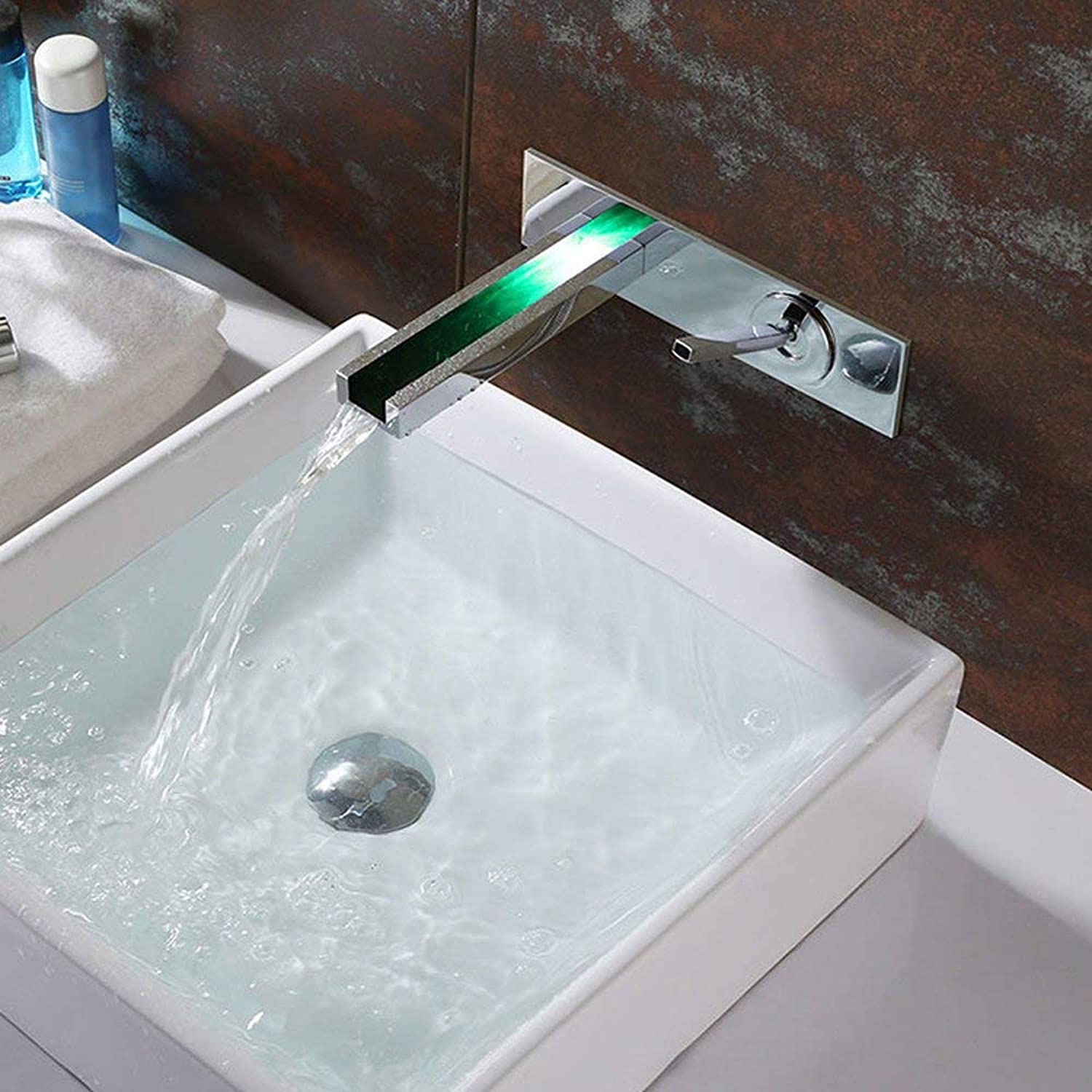 BMY Temperature Control color LED Hot And Cold Faucet Fashion LED Waterfall In Wall Basin Mixer