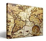 Cuadro Canvas Mapa Mundi Vintage - 55cm x 40cm - Fabricado en España