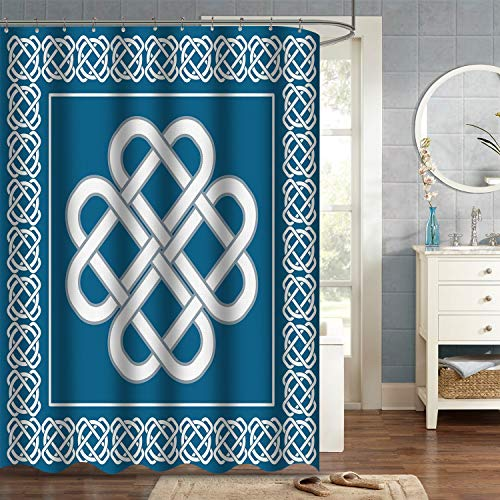 "VVA Irish Celtic Love Knot Fabric Shower Curtain, Good Fortune Symbol with Framework Border, Historical Amulet Design, Cloth Decor Set with Hooks for Bathroom, 72"" Long, Dark Aqua and White"