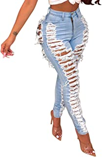 Destroyed Bottom Jeans for Women Classic High Waisted Slim Fit Ripped Tapered Denim Pants